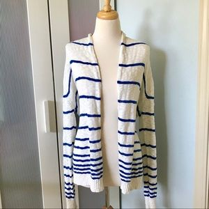 Forever 21 Blue Stripe Open Front Cardigan Sweater